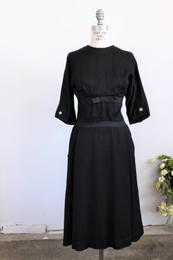 Vintage 1950s IMagnin Black Dress With Pockets