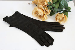 Vintage 1950s Long Black Striped Gloves