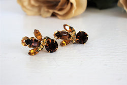 Vintage 1950s 1960s Amber Topaz Earrings