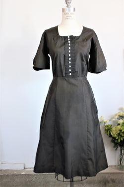 Vintage 1940s Black Taffeta Dress