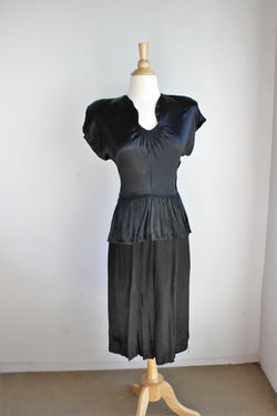 Vintage 1940s Black Satin Dress With Peplum