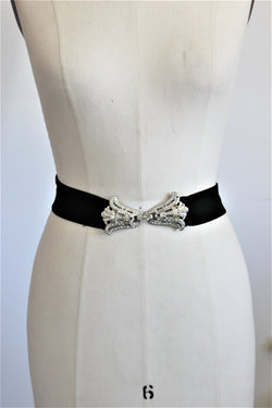 Vintage 1940s 1950s Black Belt With Rhinestones