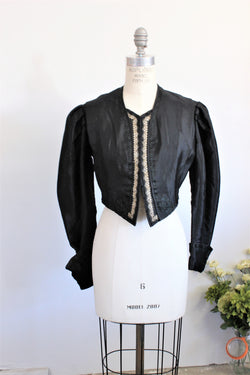 Vintage Antique 1800s Victorian Mourning Jacket Bodice