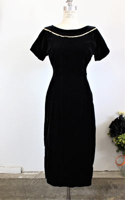 Vintage 1950s Black Velvet Wiggle Dress by Teena Paige