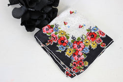 Vintage Handkerchief / Black With Red Flowers