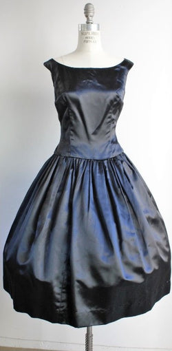 Vintage 1950s Black Silk Satin Dress