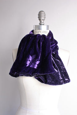 Vintage 1980s Purple Velvet Scarf With Lotus Flower