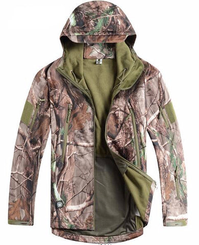 Stealth Shark Skin Military Outdoor Jacket for Men. Softshell Waterpoof Hunting Clothes Tactical Camouflage with Hoodie.