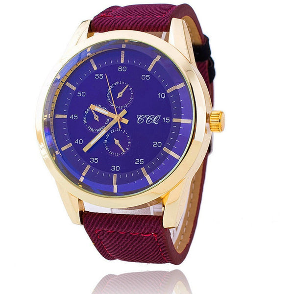 Mens burgundy gold watch