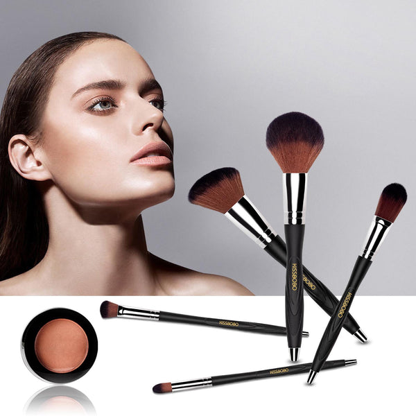 KISSBOBO Makeup Brush Set for Powder Concealer Eyeshadow Blending Blush Eyebrow Foundation with Portable Makeup Holder (7 Pcs)