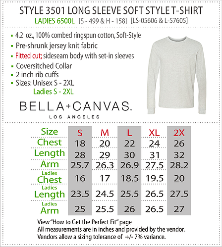 Bella Canvas Long Sleeve Shirt Size chart