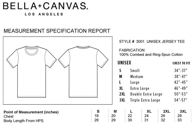bella canvas t-shirt size chart