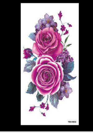 Flower sketch peony plum waterproof tattoo sticker geometric shape transfer sticker