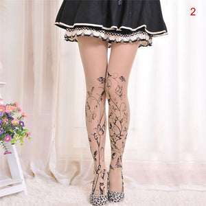 Velvet cartoon fake tattoo printed stockings - 36Bucks.com