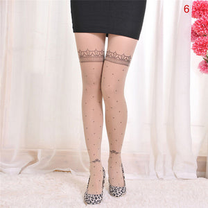 Velvet cartoon fake tattoo printed stockings