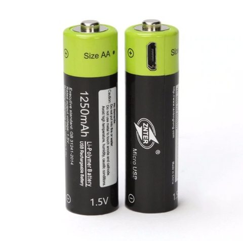 Image of (NEW) Rechargeable AA Batteries with Built-in USB Port