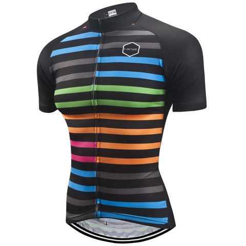 Short Sleeve Cycling Jersey - Stripes - 36Bucks.com