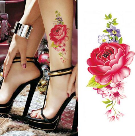 Flower tattoo sticker color sketch tattoo sticker flower peony rose plum tattoo sticker - 36Bucks.com