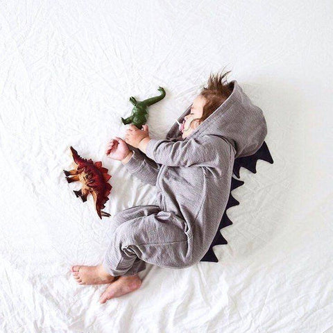 Image of Unisex Baby Long Sleeve Dinosaur Romper - 36Bucks.com