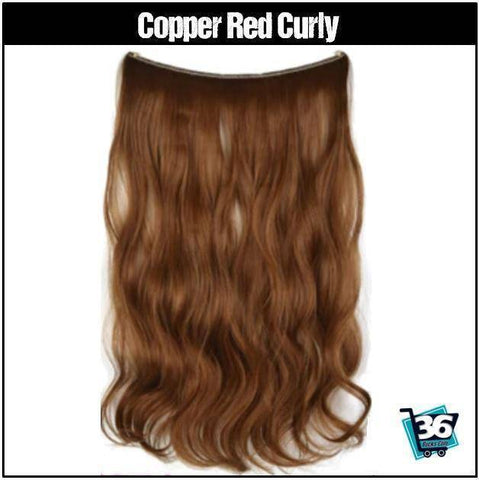 Image of (NEW) HairRitzy Invisible CURLY Halo Hair Extensions (Red | Burgundy | Auburn) - 36Bucks.com