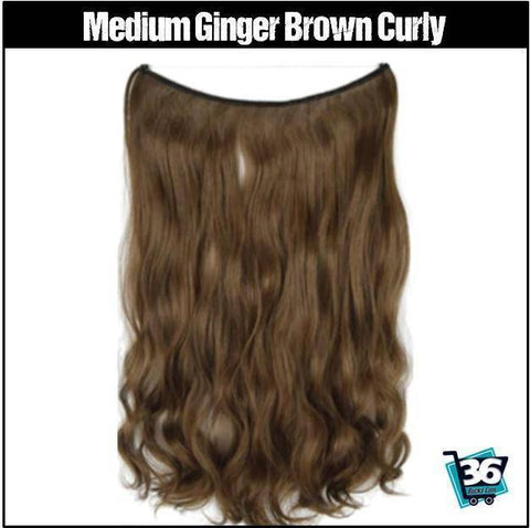 (NEW) HairRitzy Invisible CURLY Halo Hair Extensions (Red | Burgundy | Auburn)