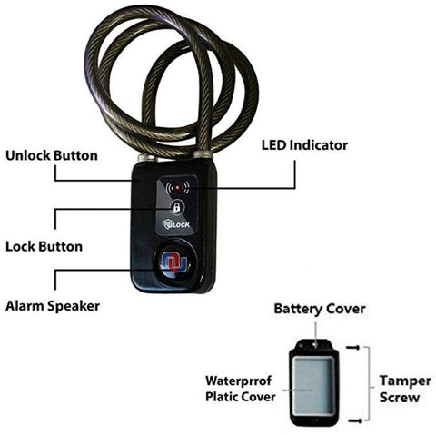 (New) Bluetooth Smart Bike Lock with Built-in Alarm System