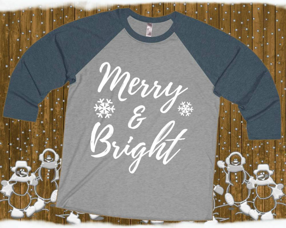 Merry and Bright - Unisex 3/4 Raglan Tee | Red Christmas Raglan | Bright And Merry | Christmas Raglan | Xmas Raglan | Raglan Tops Women - 36Bucks.com