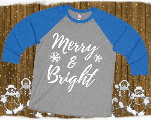 Image of Merry and Bright - Unisex 3/4 Raglan Tee | Red Christmas Raglan | Bright And Merry | Christmas Raglan | Xmas Raglan | Raglan Tops Women - 36Bucks.com