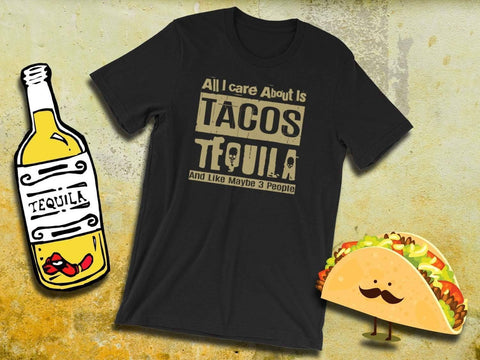 Image of Tacos And Tequila Tee - Adult Unisex Short Sleeve | Tacos Shirt | Funny Taco Shirt | Tacos & Tequila | Taco Top | Tacos Tshirt | Taco Tee - 36Bucks.com