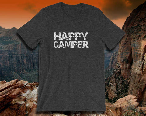 Image of Happy Camper T Shirt - Adult Unisex Tee | Custom Camping Gift | Mens Camping Shirt | Happy Campers | Camping Gift Her | Happy Camper Shirts - 36Bucks.com