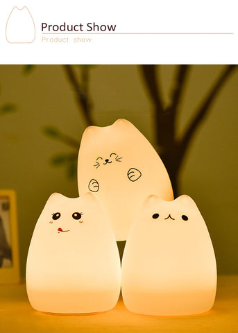 Silicone Touch Kitty LED Night Light - 36Bucks.com