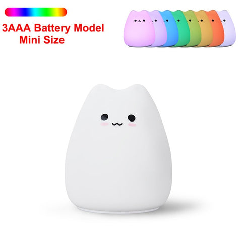 Silicone Touch Kitty LED Night Light
