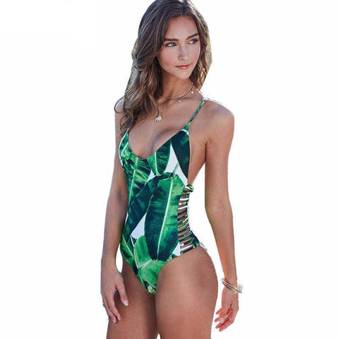 Image of Green Leaf Jungle One Piece Swimsuit - 36Bucks.com