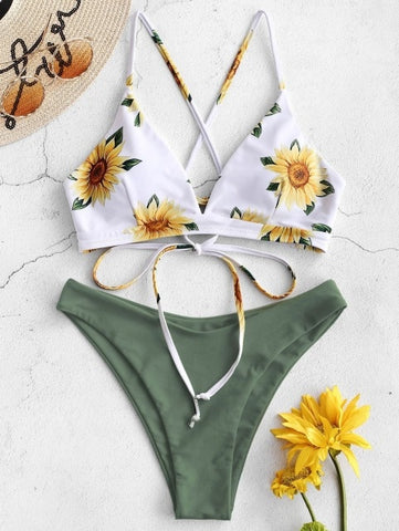 Sunflower Printed Bikini Set - 36Bucks.com