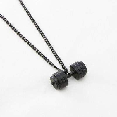 on dumbbell large black silver necklace products fitlife fashion sale related