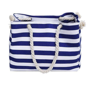 Ocean Blue Striped Shoulder Beach Bag - 36Bucks.com