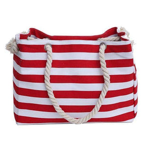 Classic Red Stripe Shoulder Beach Bag - 36Bucks.com