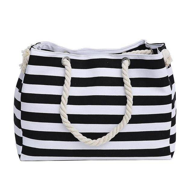 Classic Black Stripe Shoulder Beach Bag