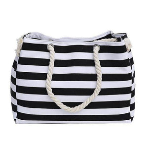 Classic Black Stripe Shoulder Beach Bag - 36Bucks.com
