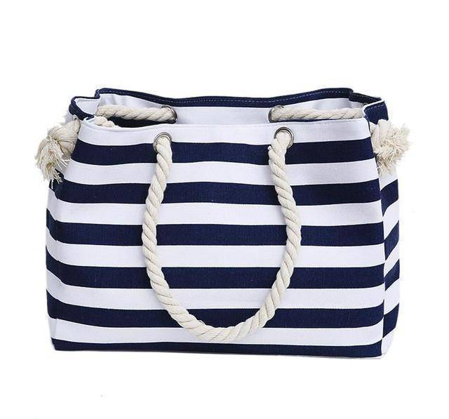 Classic Blue Stripe Shoulder Beach Bag