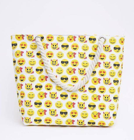 White Emoji Shoulder Beach Bag - 36Bucks.com