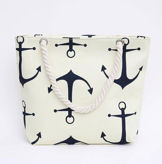 White Anchor Shoulder Beach Bag - 36Bucks.com