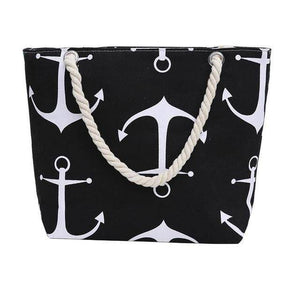 Black Anchor Shoulder Beach Bag - 36Bucks.com