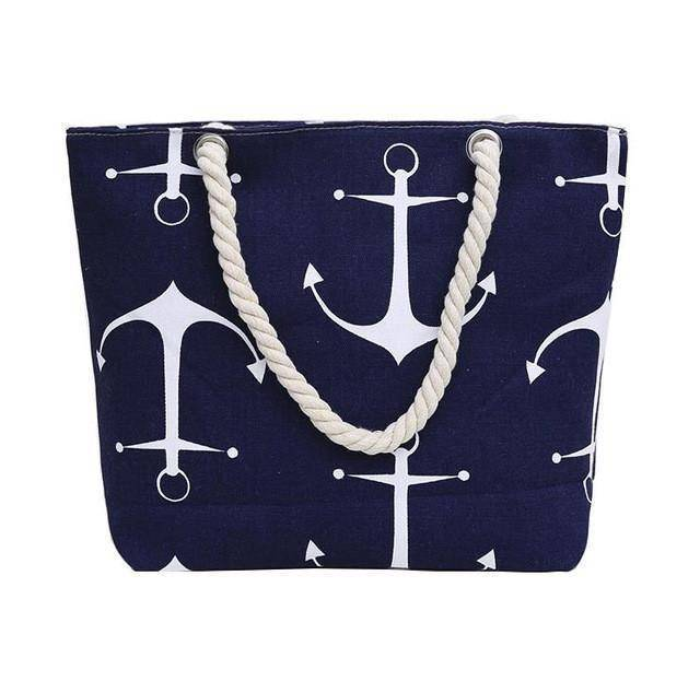 Blue Anchor Shoulder Beach Bag