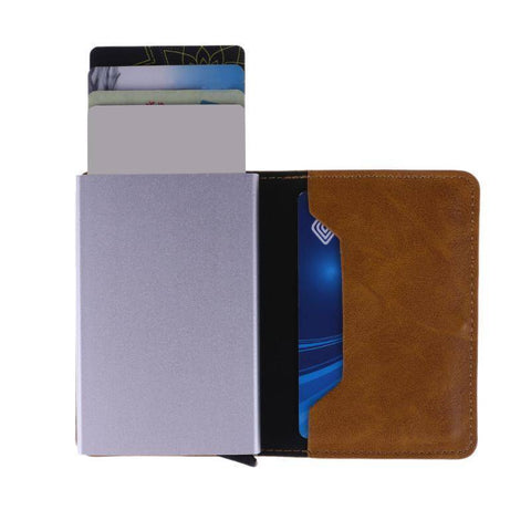Anti-Theft (RFID) Leather Wallet With Aluminum Credit Card Holder - 36Bucks.com