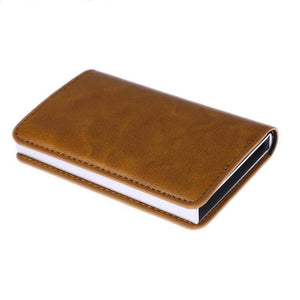 Anti-Theft (RFID) Leather Wallet With Aluminum Credit Card Holder