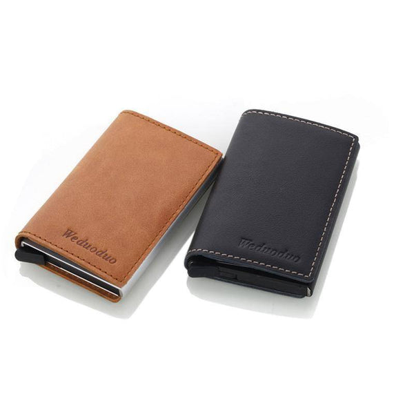 Anti-Theft (RFID) Genuine Leather Wallet With Aluminum Credit Card Holder