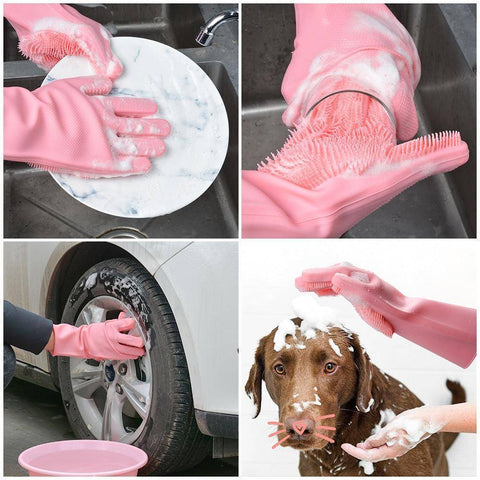 Image of Magic Silicone Gloves (Dish washing, Pets, Cars, Bathroom)