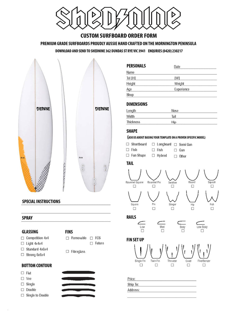 Custom ShedNine Surfboard