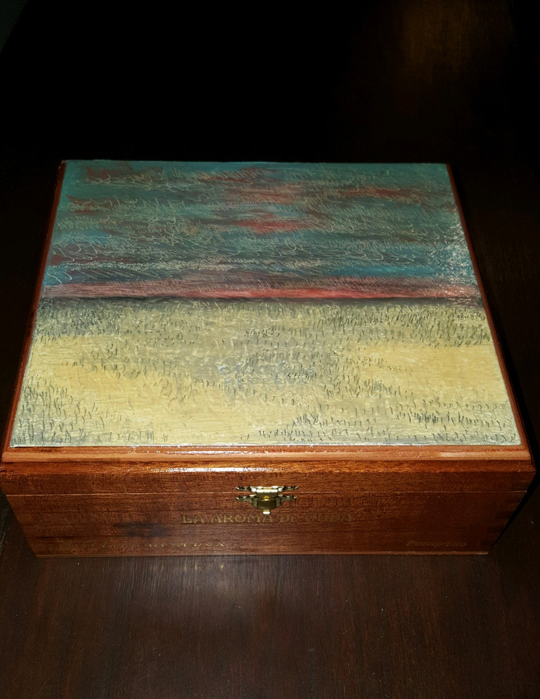 Oil Painting on Cigar Box by Alexandria Hafner